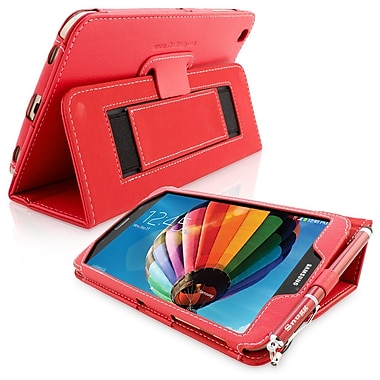 Snugg Leather Flip Stand Cover Case With Elastic Strap For Samsung Galaxy Tab 3 8, Red