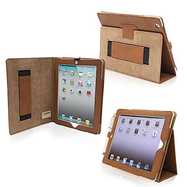 Snugg Leather Flip Stand Cover Case With Elastic Strap For Apple iPad 2, Distressed Brown