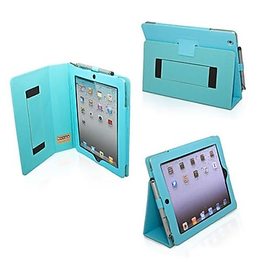 Snugg Leather Flip Stand Cover Case With Elastic Strap For Apple iPad 2, Baby Blue