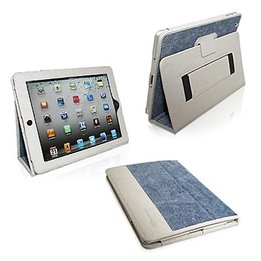 Snugg Leather Flip Stand Cover Case With Elastic Strap For Apple iPad 2, Blue Denim