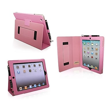 Snugg Leather Flip Stand Cover Case With Elastic Strap For Apple iPad 2, Candy Pink