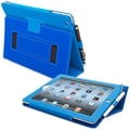 Snugg Leather Flip Stand Cover Case With Elastic Strap For Apple iPad 2, Electric Blue