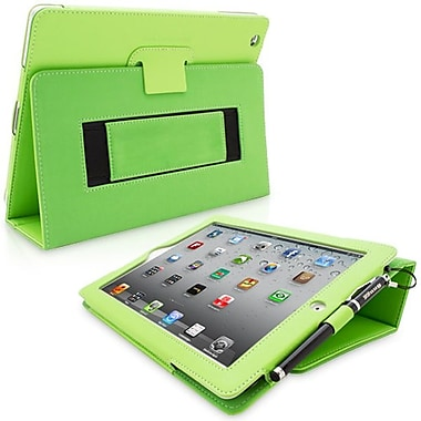 Snugg Leather Flip Stand Cover Case With Elastic Strap For Apple iPad 2, Green