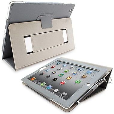 Snugg Leather Flip Stand Cover Case With Elastic Strap For Apple iPad 2, Gray