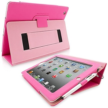 Snugg Leather Flip Stand Cover Case With Elastic Strap For Apple iPad 2, Hot Pink