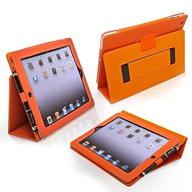 Snugg Leather Flip Stand Cover Case With Elastic Strap For Apple iPad 2, Orange