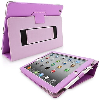 Snugg Leather Flip Stand Cover Case With Elastic Strap For Apple iPad 2, Purple