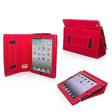 Snugg Leather Flip Stand Cover Case With Elastic Strap For Apple iPad 2, Red