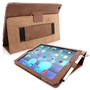 Snugg Leather Flip Stand Cover Case With Elastic Strap For Apple iPad Air/iPad 5, Distressed Brown