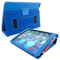 Snugg Leather Flip Stand Cover Case With Elastic Strap For Apple iPad Air/iPad 5, Electric Blue