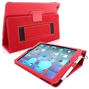 Snugg Leather Flip Stand Cover Case With Elastic Strap For Apple iPad Air/iPad 5, Red