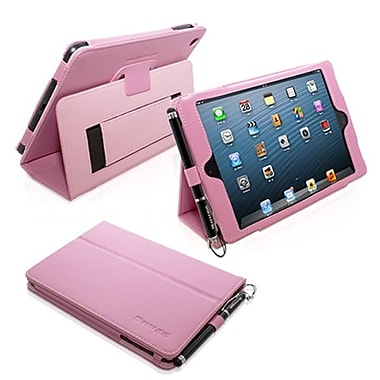Snugg Leather Flip Stand Cover Case With Elastic Strap For iPad Mini/Mini 2 Retina, Candy Pink