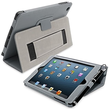 Snugg Leather Flip Stand Cover Case With Elastic Strap For iPad Mini/Mini 2 Retina, Gray