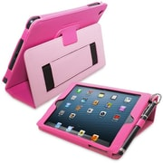 Snugg Leather Flip Stand Cover Case With Elastic Strap For iPad Mini/Mini 2 Retina, Hot Pink