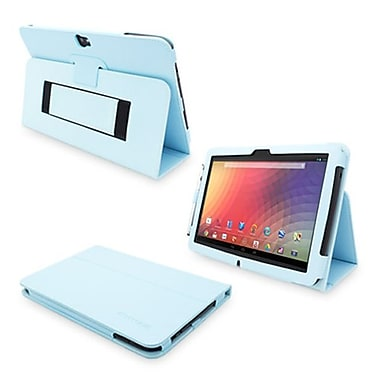 Snugg Leather Flip Stand Cover Case With Elastic Strap For Google Nexus 10, Baby Blue