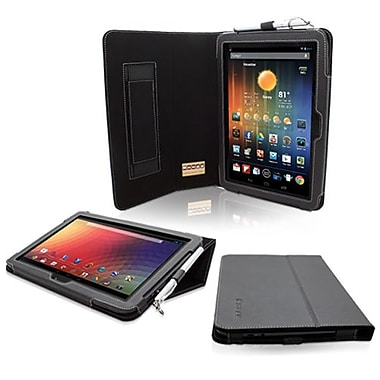 Snugg Leather Flip Stand Cover Case With Elastic Strap For Google Nexus 10, Black