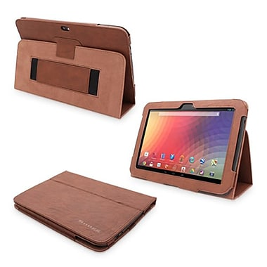 Snugg Leather Flip Stand Cover Case With Elastic Strap For Google Nexus 10, Distressed Brown