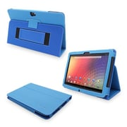 Snugg Leather Flip Stand Cover Case With Elastic Strap For Google Nexus 10, Electric Blue