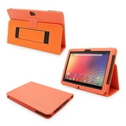 Snugg Leather Flip Stand Cover Case With Elastic Strap For Google Nexus 10, Orange