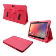 Snugg Leather Flip Stand Cover Case With Elastic Strap For Google Nexus 10, Red