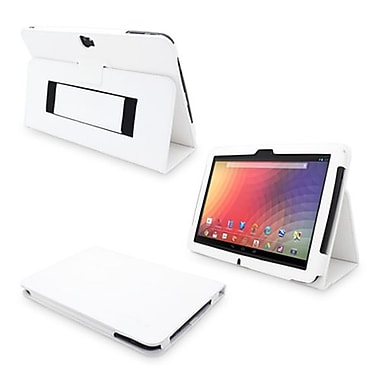 Snugg Leather Flip Stand Cover Case With Elastic Strap For Google Nexus 10, White
