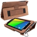 Snugg Leather Flip Stand Cover Case With Elastic Strap For Google Nexus 7 2 2013, Distressed Brown