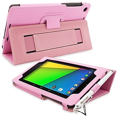 Snugg Leather Flip Stand Cover Case With Elastic Strap For Google Nexus 7 2 2013, Candy Pink