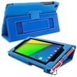 Snugg Leather Flip Stand Cover Case With Elastic Strap For Google Nexus 7 2 2013, Electric Blue