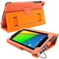 Snugg Leather Flip Stand Cover Case With Elastic Strap For Google Nexus 7 2 2013, Orange