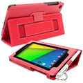 Snugg Leather Flip Stand Cover Case With Elastic Strap For Google Nexus 7 2 2013, Red