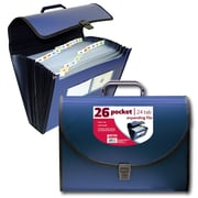 Better Office Products 26 Pocket Poly Expanding File with Handle
