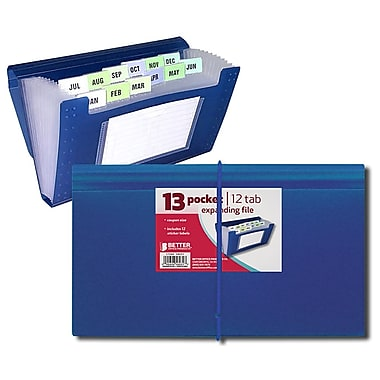 Better Office Products 13 Pocket Coupon Size Expanding File, Frosted