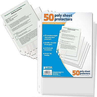 Better Office Products Poly Sheet Protectors