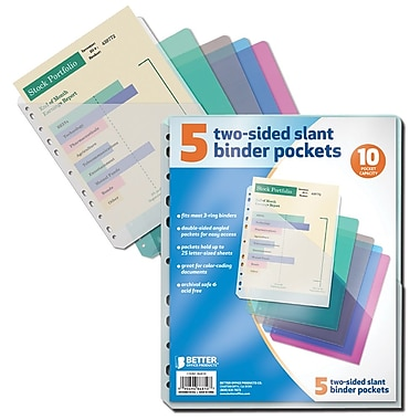 Better Office Products Slant Binder Pockets 5 Pack