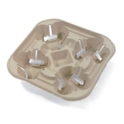 Chinet StrongHolder Four-Cup Molded Fiber Tray Holder in Beige