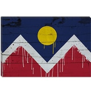 iCanvas Denver Flag, Wood Planks with Paint Drips Graphic Art on Canvas; 12'' H x 18'' W x 1.5'' D