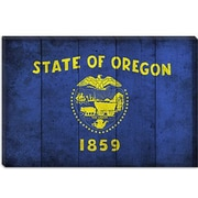 iCanvas Oregon Flag, Planks with Grunge Graphic Art on Canvas; 26'' H x 40'' W x 1.5'' D