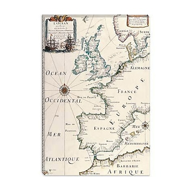 iCanvas Antique West Europe Map Graphic Art on Canvas; 12'' H x 8'' W x 0.75'' D