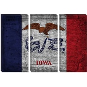 iCanvas Iowa Flag, Map w/ Grunge Graphic Art on Canvas; 18'' H x 26'' W x 1.5'' D