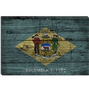 iCanvas Delaware Flag, Grunge Wood Boards Painting Print on Canvas; 12'' H x 18'' W x 1.5'' D