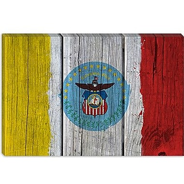iCanvas Columbus Flag, Wood Planks w/ Splatters Painting Print on Canvas; 12'' H x 18'' W x 1.5'' D