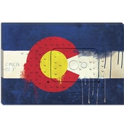 iCanvas Colorado Flag, Metal Rivet w/ Paint Drips Graphic Art on Canvas; 18'' H x 26'' W x 1.5'' D