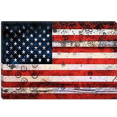 iCanvas Flags U.S.A. Grunge Metal Graphic Art on Canvas; 12'' H x 18'' W x 0.75'' D