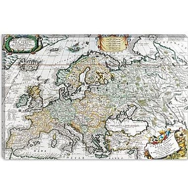 iCanvas Antique Map of Europe Graphic Art on Canvas; 12'' H x 18'' W x 0.75'' D