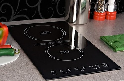 Image of 11.38'' Electric Induction Cooktop w/ 2 Burners including 7 Piece Complimentary Cookware Set