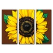 Obvious Place Sunflower Flat Brown 3 Piece Painting Print on Canvas Set
