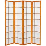 Oriental Furniture 71'' Double Cross 4 Panel Room Divider; Honey