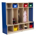 ECR4Kids Colorful Essentials  5-Section Coat Locker with Bench; Yellow