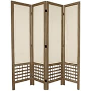 Oriental Furniture 67'' Tall Open Lattice Fabric 4 Panel Room Divider; Gray