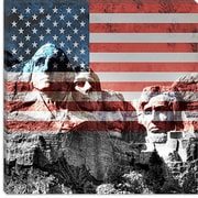 iCanvas Mount Rushmore, US Flag Graphic Art on Canvas in Red; 18'' H x 18'' W x 1.5'' D